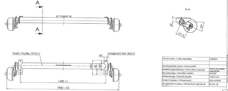 Pneumatico per il sistema di frenatura ASSALE ANTERIORE macellaio 4110203